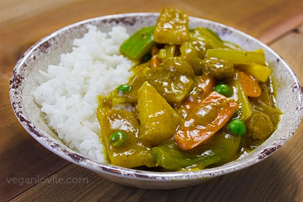 Chinese Vegetable Curry with Jicama and Soya Chunks (Textured Vegetable Protein)