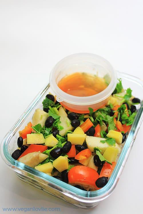 Black Bean Mango and Apple Salad with Maple Butter-Sriracha and Lemon Dressing