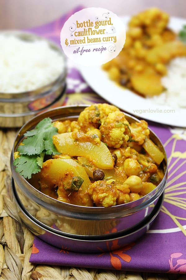 bottle gourd curry, cari calebasse, oil-free curry recipe