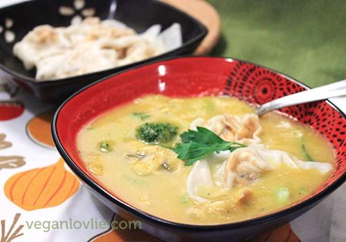Sweet Potato Tofu Wontons in Butternut Squash and Broccoli Soup