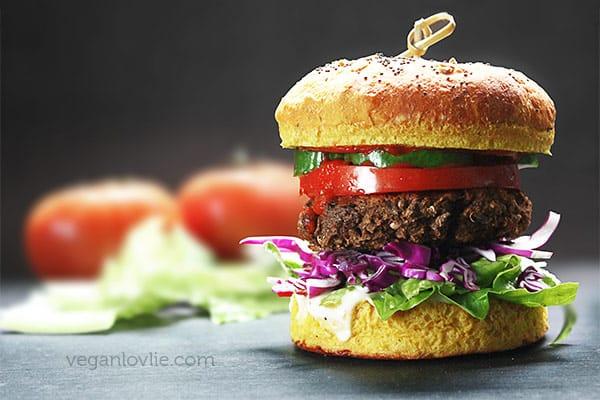 Veggie Burger with Brown Chickpea / Kala Chana and Eggplant / Aubergine