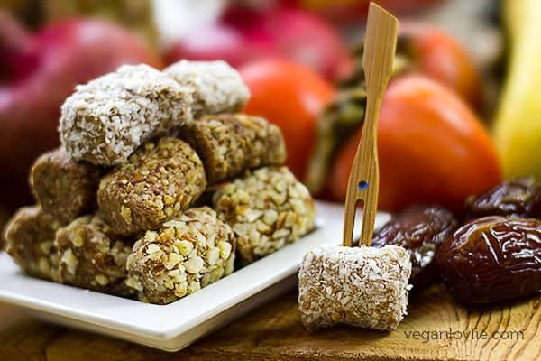 Vegan Dessert Platter with Fruit Terrine, Fruit and Date Rolls Skewers
