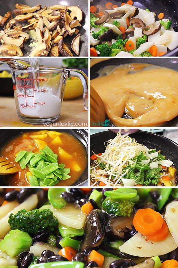Vegetable Chop Suey with Jicama (Chinese Potato/Yam) & Black Beans