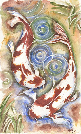 Koi Fish Watercolor Painting