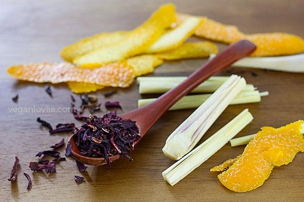 dried hibiscus flowers tea, lemongrass, orange peel