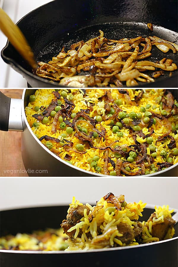 Mauritian Vegan Biryani with Okra and Soya Chunks (Textured Vegetable Protein)