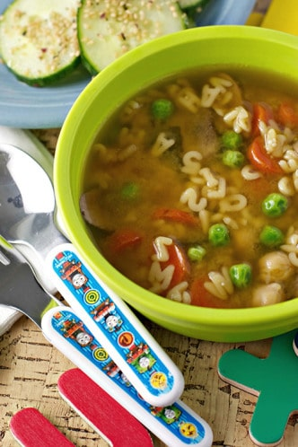 Miso alphabet soup - Merry-Go-Veggie-Kids