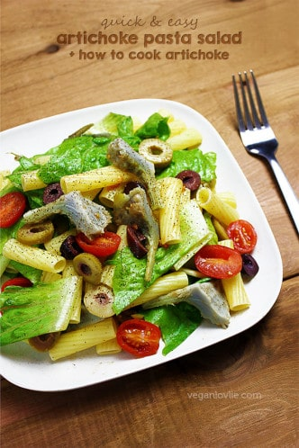 easy pasta salad with artichoke hearts + how to cook artichokes