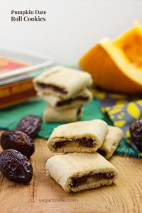 Pumpkin Date Roll Cookies, Vegan cookies inspired from Fig Rolls or Fig Newtons