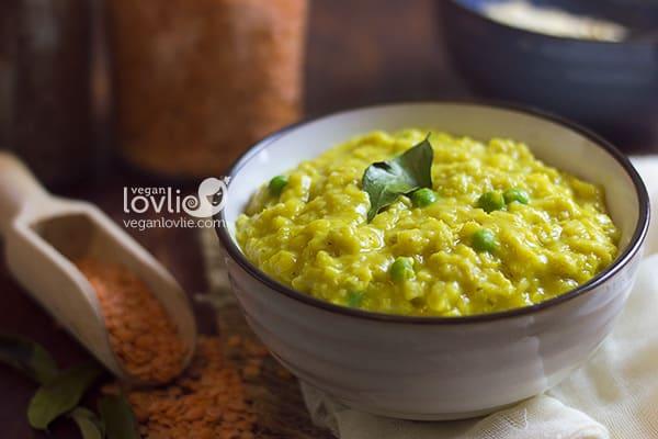 red lentils oats porridge, high protein vegan breakfast recipe