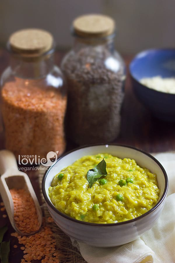 red lentils oats porridge, high protein vegan breakfast recipe