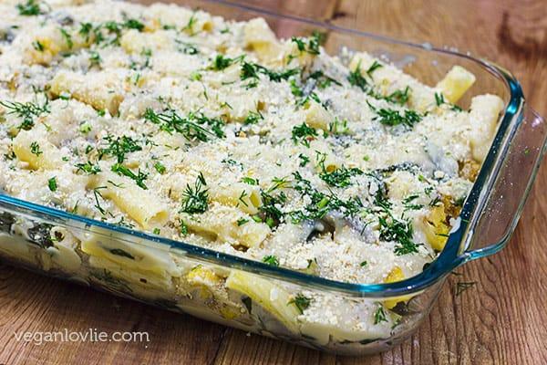 Vegan White Sauce Rigatoni Pasta Bake Recipe with Green Chard and Cauliflower