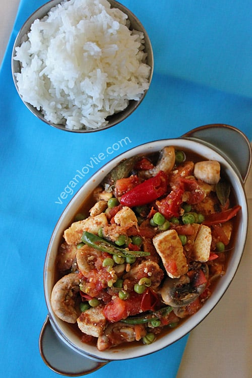 tofu mushroom rougail, Mauritian rougaille