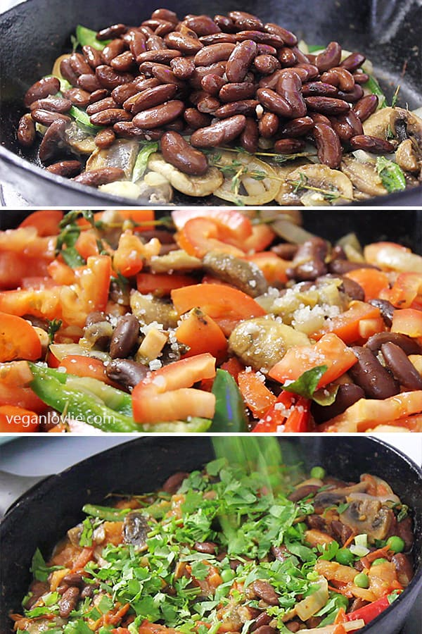 Red Kidney Beans and Mushrooms Rougaille, Mauritian Creole-style tomato-based dish