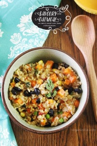 Savoury oatmeal recipe with sundried tomato, carrot, sweet corn, peas and black beans