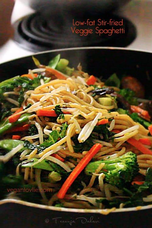Stir fried vegetable spaghetti