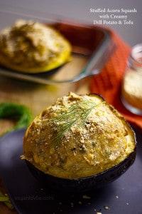 Stuffed acorn squash with creamy potato dill and tofu filling