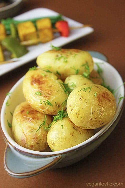vegetable tofu skewers and baby potatoes