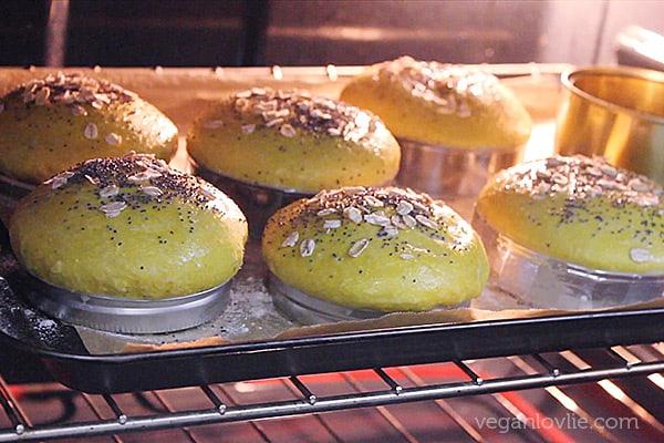 Turmeric and Coconut Burger Buns, Vegan Bread Buns