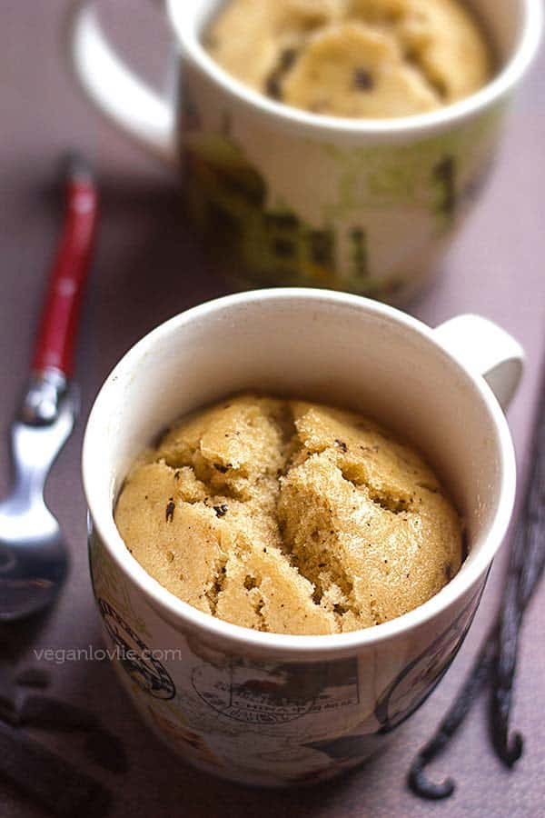 vanilla chocolate chip mug cake recipe, vegan mug cake