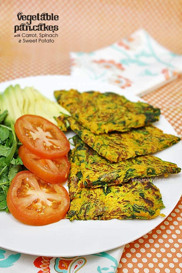 Vegetable Pancakes with Carrots, Spinach and Sweet Potato, Vegan, Glutenfree