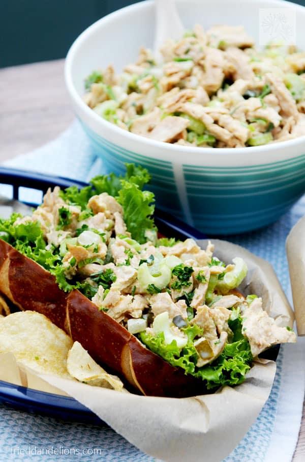 Vegan Chicken Salad - Fried Dandelions