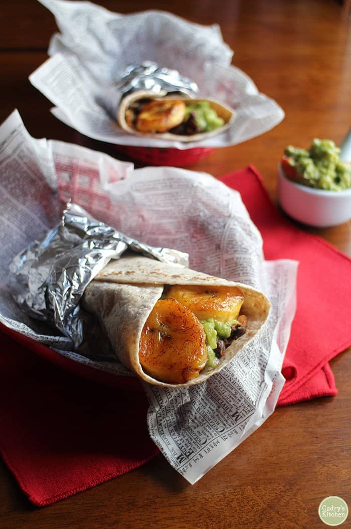 Plantain and Black Bean Burritos from Cadry's Kitchen