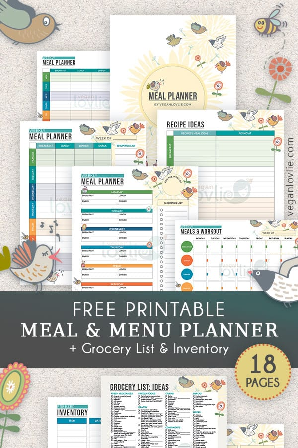 Printable Meal Planner – Chirpy Set
