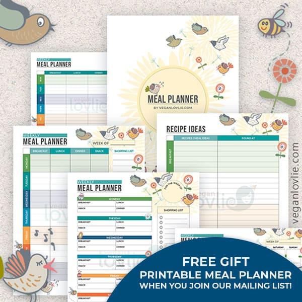 Free Printable Meal Planner - Chirpy Set - veganlovlie.com