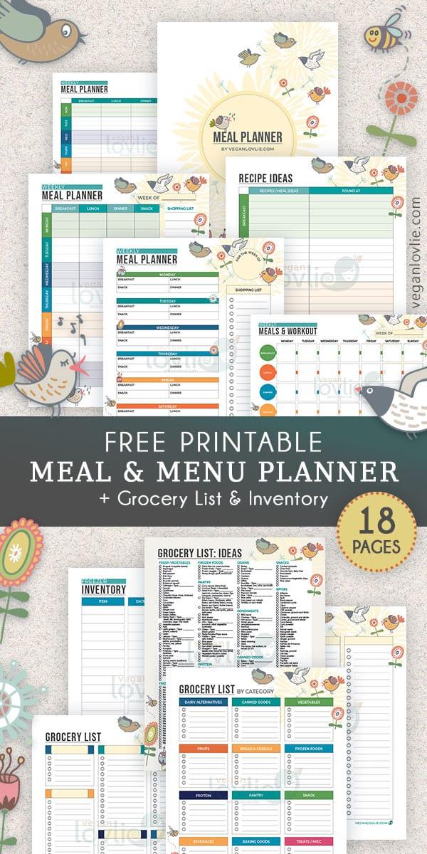 Printable Meal Planner - Chirpy Set - veganlovlie.com