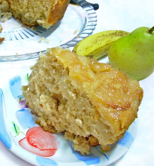 Vegan Spiced Banana Pear Upside Down Cake