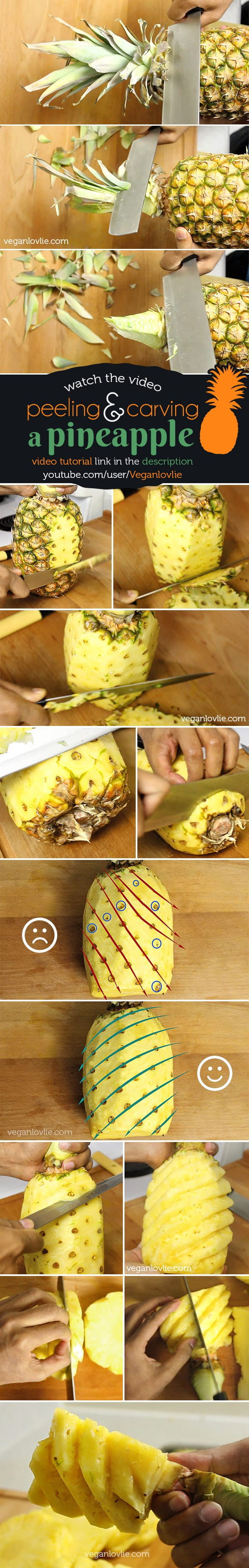 how to peel and carve a pineapple, Mauritian style