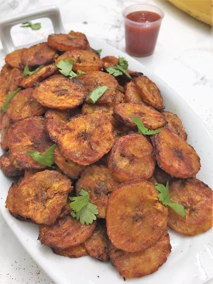 Sweet & Spicy Baked Plantain Chips from This Healthy Kitchen