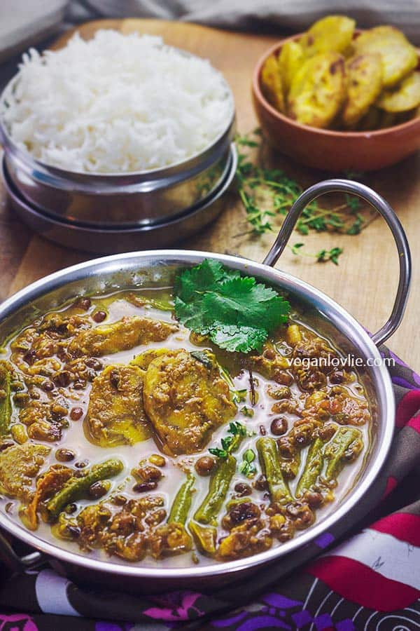 Aduki beans curry with plantain and snake beans