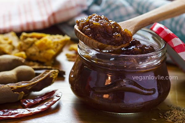 apple tamarind chutney sweetened with date and jaggery