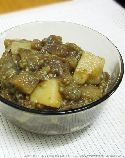 Mauritian mashed aubergine, eggplant with potato