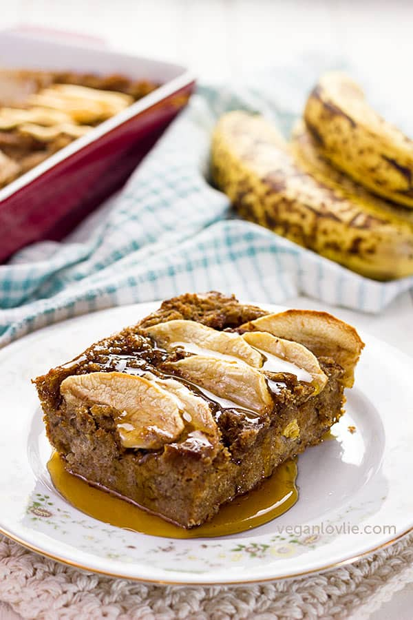 Banana Apple Bread Pudding recipe made with Sourdough Spelt Bread | Dairy-free + Eggless + Naturally Sweetened #veganlovlie