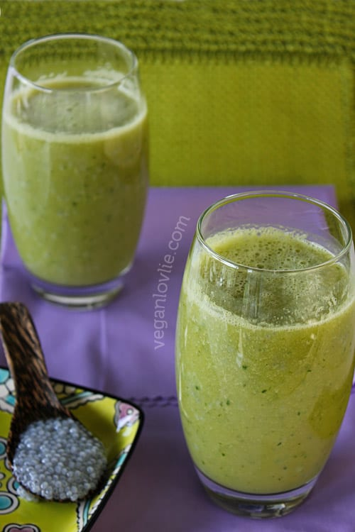Tukmaria Cucumber Peach Smoothie - Weightloss Smoothie - Basil seeds smoothie