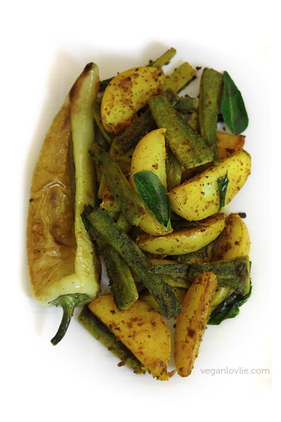 Curried bitter gourd with potatoes, Mauritian recipe.