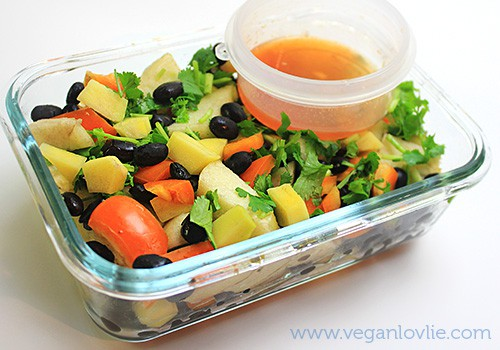 Black Bean Mango and Apple Salad with Maple Butter-Sriracha and Lemon Dressing photo blackbeanmango_salad2_zps4db44625.jpg