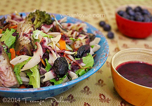 artichoke pasta salad - blueberrry chipotle dressing
