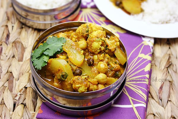 Bottle Gourd, Cauliflower Curry, Cari Calebasse et Choufleur