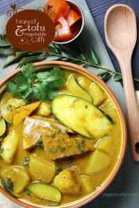 Braised tofu and vegetable curry, vegan/vegetarian Mauritian curry