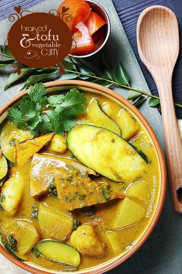 Braised Tofu and Vegetable Curry, tofu curry recipe without coconut milk