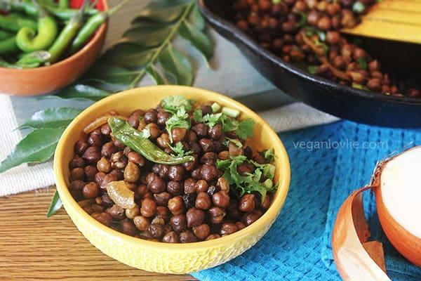 spiced brown chickpea recipe, high protein vegan snack, recette gram bouilli, Mauritian recipe