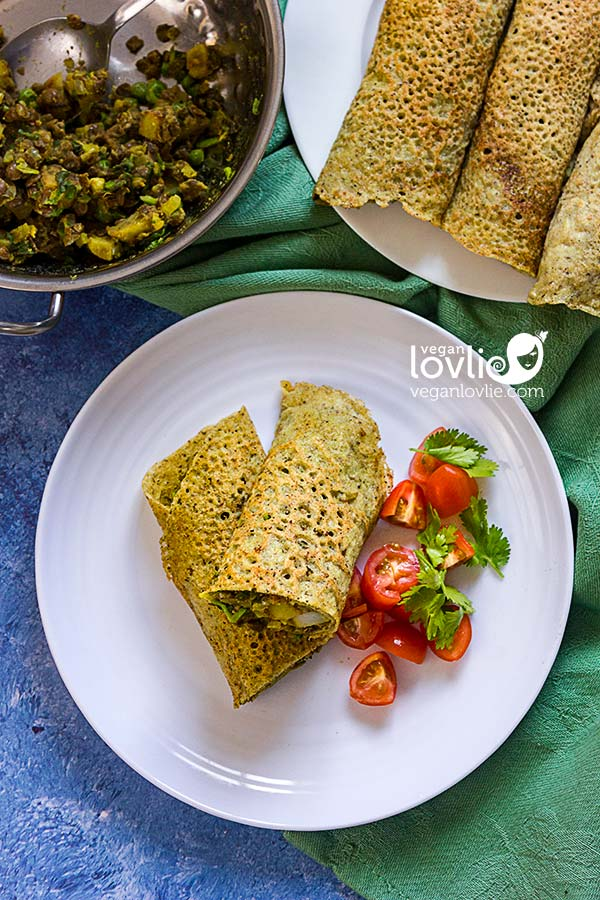 Vegan buckwheat crepes with potato lentil samosa filling