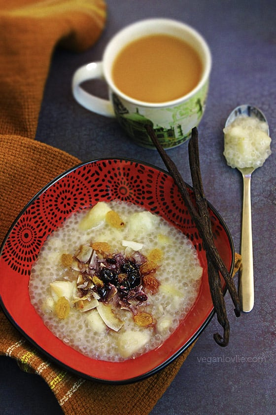 cassava and tapioca pudding - sago in coconut milk
