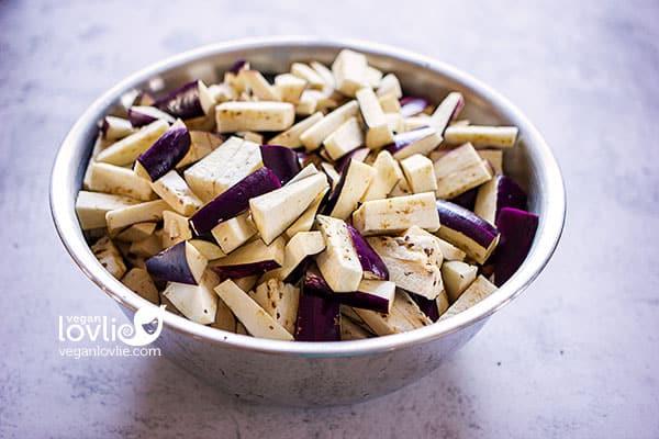 sliced eggplant or aubergine