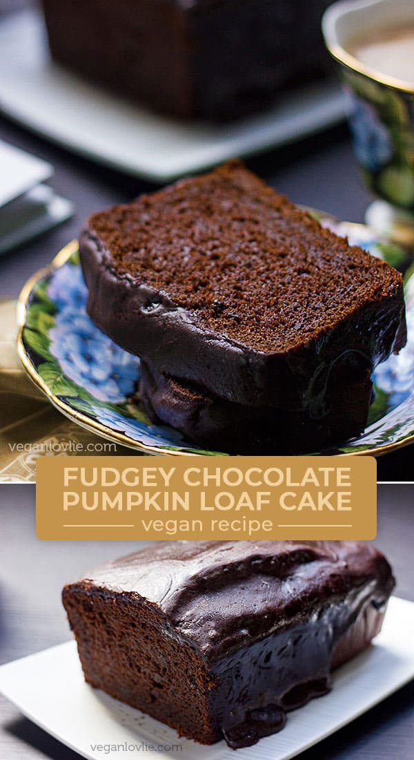 Vegan Chocolate Pumpkin Loaf Cake with Fudgey Chocolate Glaze