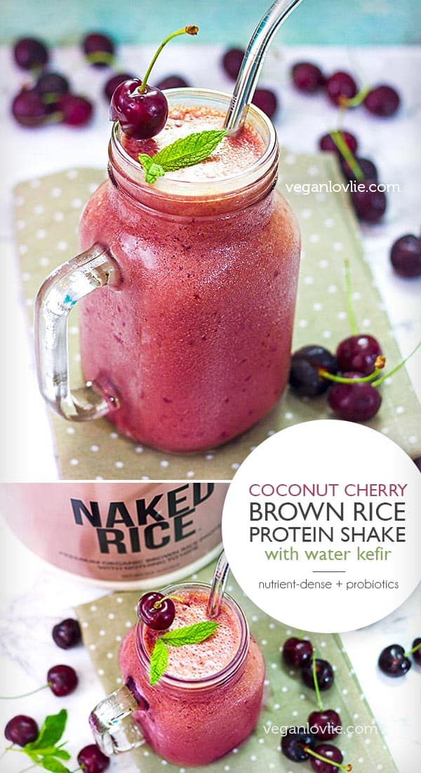Coconut Cherry Brown Rice Protein Skake with Water Kefir